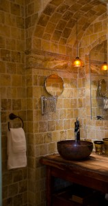Bathroom with wall tiles